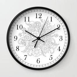 floral clock in black&white Wall Clock