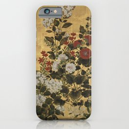 Flowers & Grapes Vintage Japanese Floral Gold Leaf Screen iPhone Case