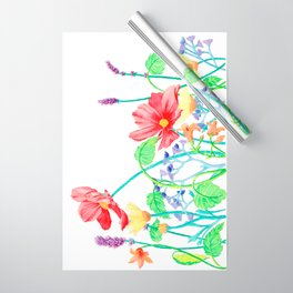 Floral Border - Jewel Colours Wrapping Paper