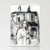 les miserables Stationery Cards featuring Les Miserables Portrait Series - Fantine by Flávia Marques