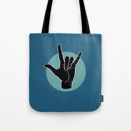 ILY - I Love You - Sign Language - Black on Green Blue 07 Tote Bag