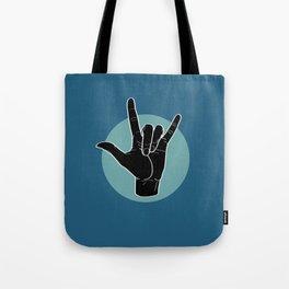 ILY - I Love You - Sign Language - Black on Green Blue 07 Umhängetasche