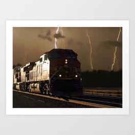 BNSF Locomotive Pulling Train in Thunderstorm at Henrietta MO Art Print