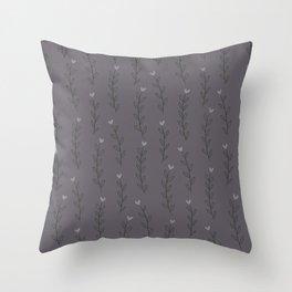Winter Bloom Grey Throw Pillow
