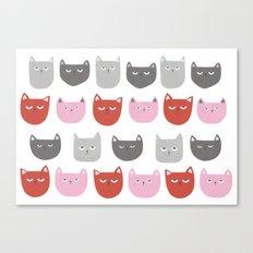 Grumpy, miserable cats Canvas Print
