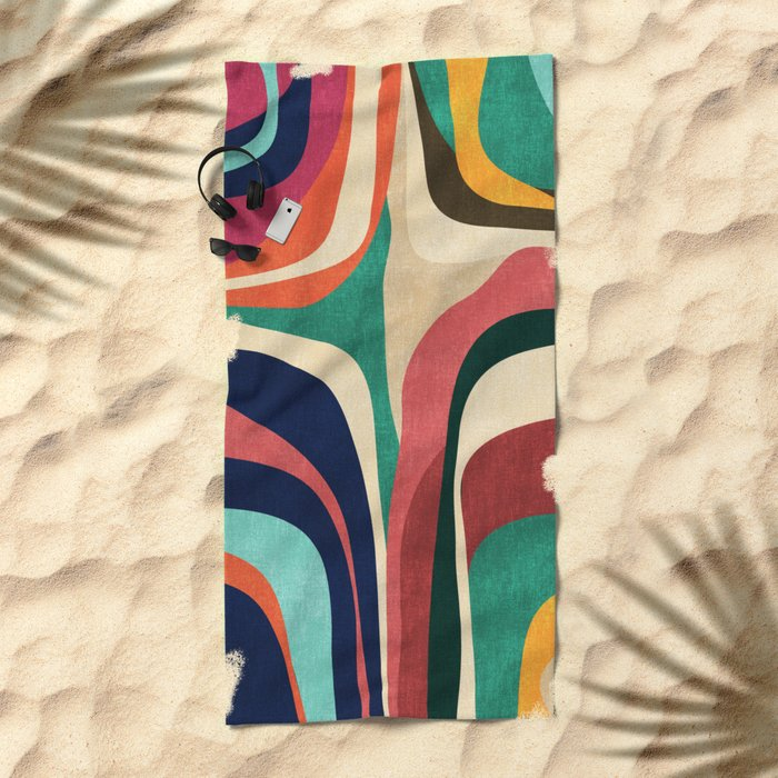 Impossible contour map Beach Towel