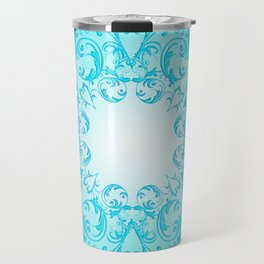 Baroque style turquoise floral texture Travel Mug