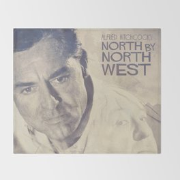 North by Northwest, Alfred Hitchcock, vintage movie poster, Cary Grant, minimalist Throw Blanket