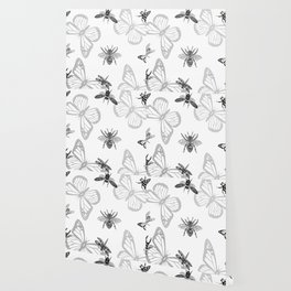 Bee,butterfly,bugs,fly,insects pattern Wallpaper
