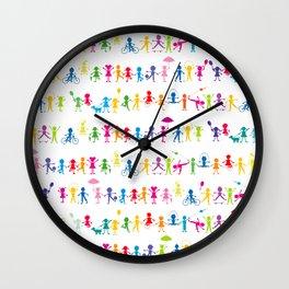 Stylized cartoon colored kids seamless background Wall Clock