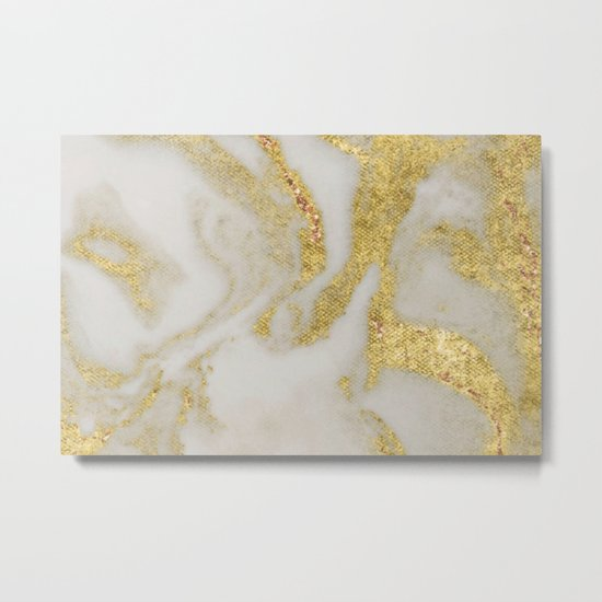 Marble - Swirled Shimmer Gold Marble Yellow on White Marble Metal Print