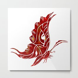 Red Butterfly Fantasy Designs Abstract Holiday Art  Metal Print