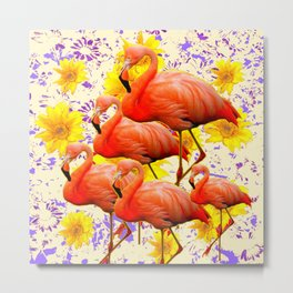 MODERN CREAM-YELLOW ART FLAMINGO  FLORAL PURPLE  ABSTRAC Metal Print