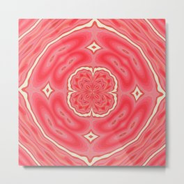 Star White And Red Clover Kaleidoscope Pattern Metal Print