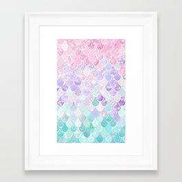 Cute Mermaid Pattern, Light Pink, Purple, Teal Framed Art Print