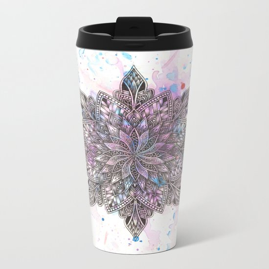 Zen Watercolor Mandala Metal Travel Mug