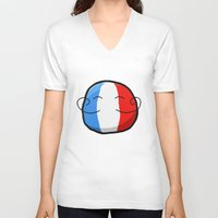 france V-neck T-shirts featuring France by Thomas Official