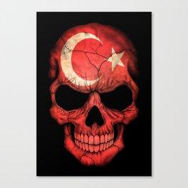 Dark Skull with Flag of Turkey Canvas Print