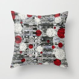 The Importance of Measuring Feet / The Needs of the Business (P/D3 Glitch Collage Studies) Throw Pillow