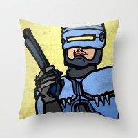 robocop Throw Pillows featuring RoboCop by Rat McDirtmouth