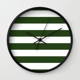 Large Dark Forest Green and White Cabana Tent Stripes Wall Clock