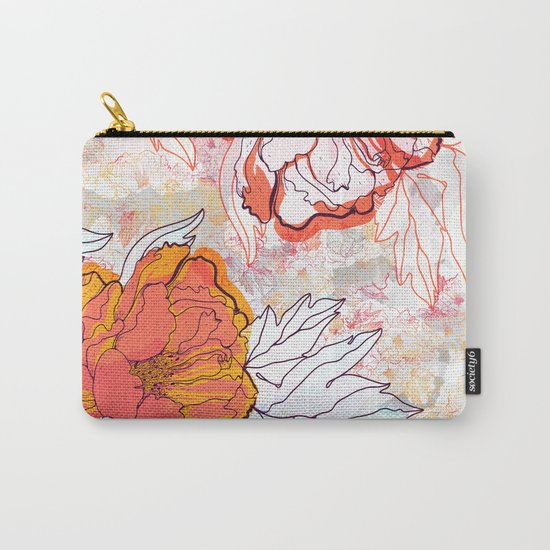 Abstract Floral Illustration Carry-All Pouch