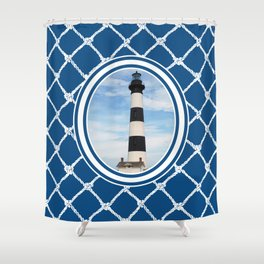 Bodie Island Lighthouse-North Carolina -With Nautical Netting Background on Classic Blue Shower Curtain