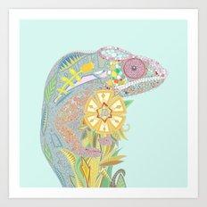 chameleon pastel mint Art Print