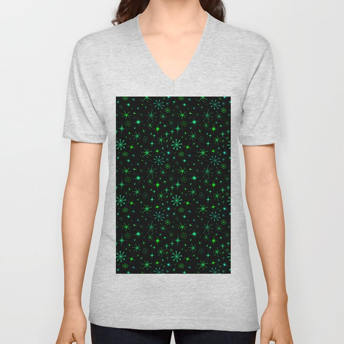 Atomic Starry Night in Neon Green Glow + Black Unisex V-Neck