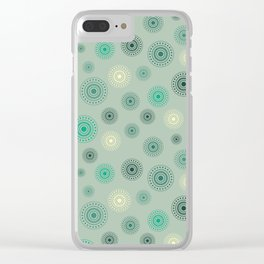 Circles in green Clear iPhone Case