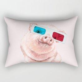 Baby Pink Pig Wear Glasses Pink Rectangular Pillow