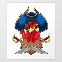Pirate Chicken Viking Novelty Halloween Art Print