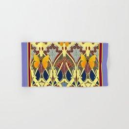 Decorative Yellow Art Nouveau Butterfly Maroon Designs Hand & Bath Towel
