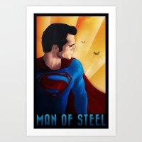 man of steel Art Prints featuring Man of Steel by sevillaseas