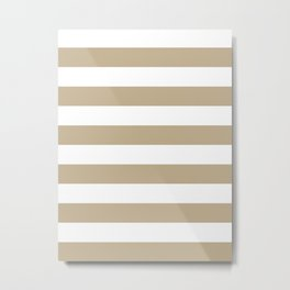 Horizontal Stripes - White and Khaki Brown Metal Print