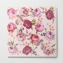 Blush Pink and Red Watercolor Floral Roses Metal Print