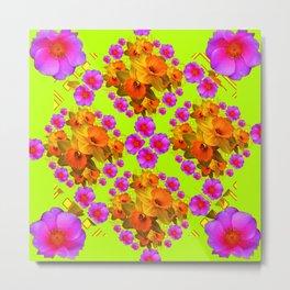Chartreuse Color Golden Daffodil Rose Art Metal Print
