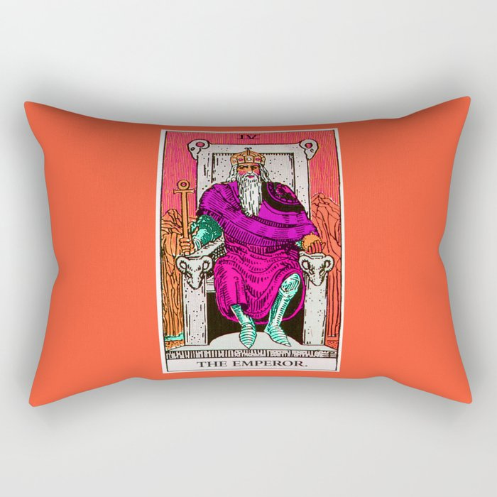4. The Emperor- Neon Dreams Tarot Rectangular Pillow
