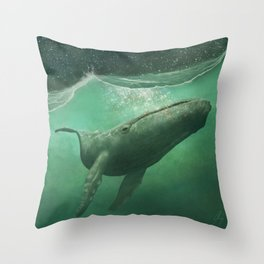 The Whale & The Moon Throw Pillow