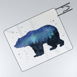Forest Bear Silhouette Watercolor Galaxy Picnic Blanket