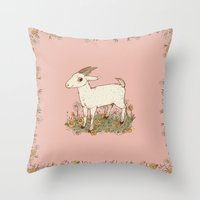 goat Throw Pillows featuring GOAT by Gwendolyn Wood