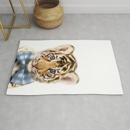 Baby Tiger With Bow Tie, Baby Animals Art Print By Synplus Rug