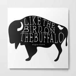 Bird on the Buffalo Metal Print