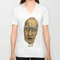 allyson johnson V-neck T-shirts featuring Wilko Johnson by Paul Nelson-Esch Art