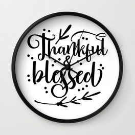 Thankful and Blessed Family Thanksgiving Day Wall Clock