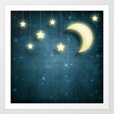 Moon & Stars 01 Art Print