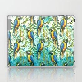 Watercolor blue yellow tropical parrot bird floral Laptop & iPad Skin