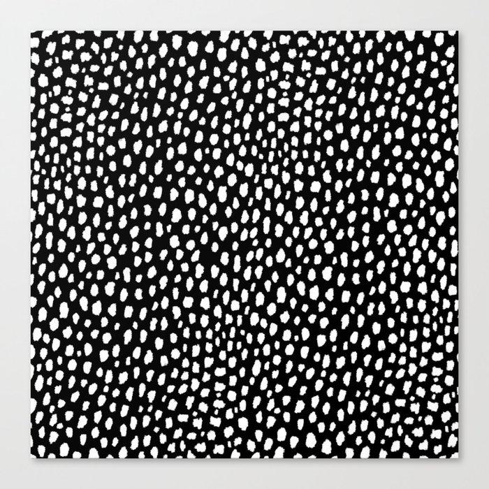 Handmade polka dot brush strokes (black and white reverse dalmatian) Leinwanddruck
