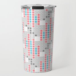 BRIXHAM, RETRO SQUARES: TURQUOISE, PINK on WHITE Travel Mug