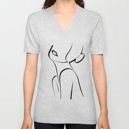 WOMAN BE HAPPY LINE ART BLACK | female Minimalism silhouette Drawing Unisex V-Neck